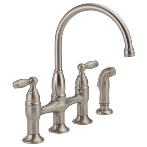 two kitchen faucet two handle bridge kitchen faucet with spray 21966lf ss