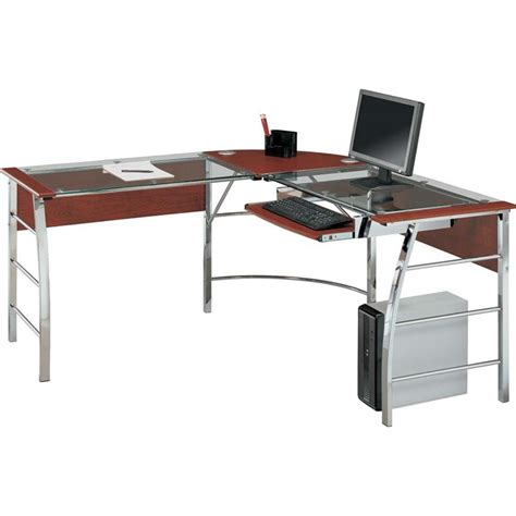 Glass Top L Shaped Computer Desk In Cherry 9105296com L Shaped Desk Cherry