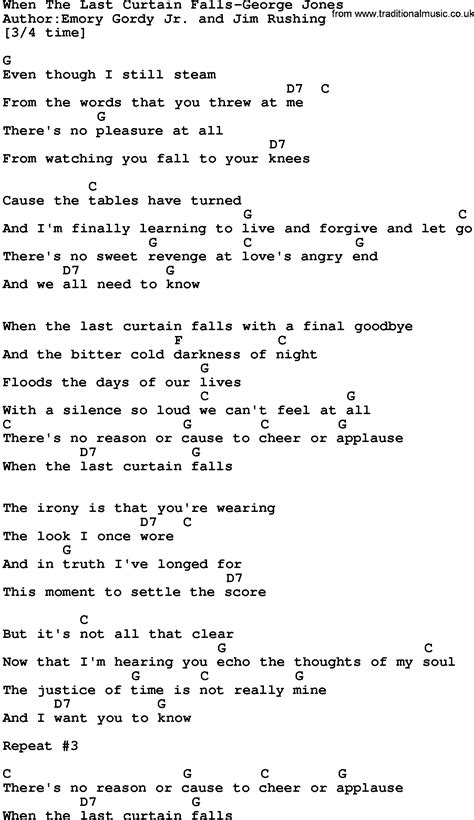 the curtain falls lyrics country music when the last curtain falls george jones