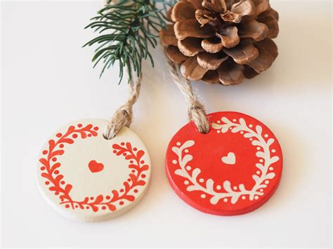 scandinavian christmas decorations set of 2 clay home