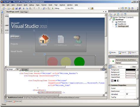 xaml page layout adding wpf controls to the visual studio 2010 start page