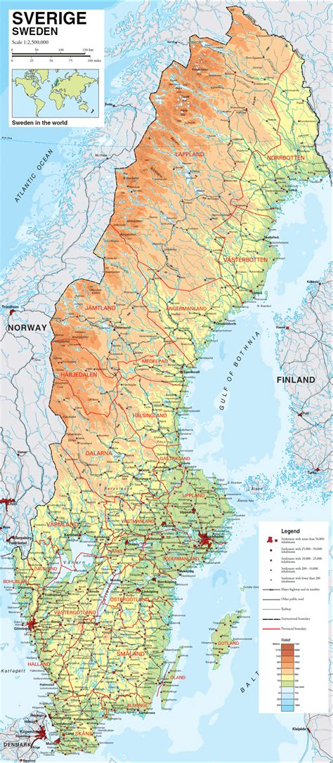 physical map of sweden large detailed physical map of sweden with all roads