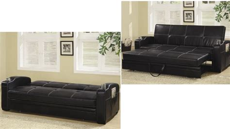 faux leather sofa bed with storage and cup holders leatherette sofa bed upholstered futons dc futon stores