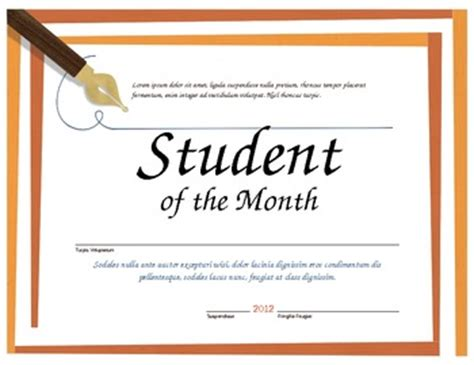 free student of the month certificate templates student of the month microsoft word certificate template