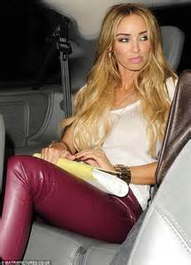 Hell for leather the reality tv star wore tight burgundy trousers and
