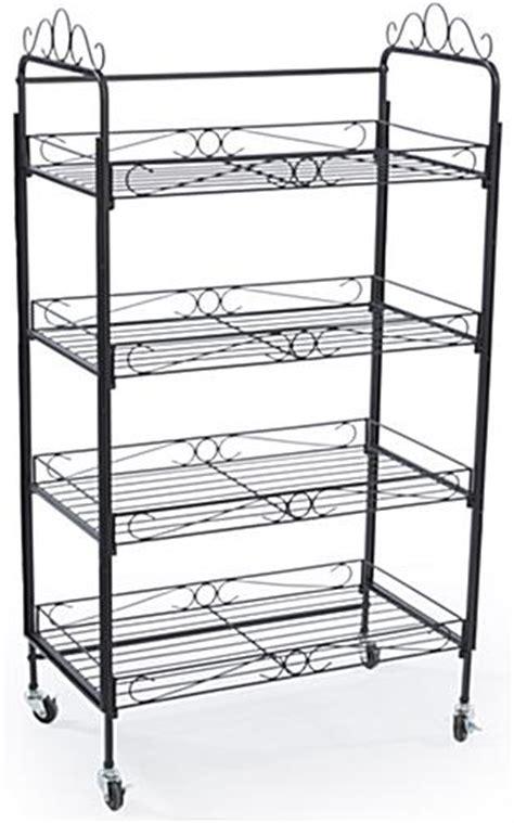 Bakers Rack On Wheels 4 shelf bakers rack open space shelves locking wheels