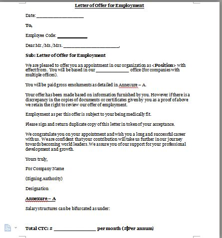 offer of employment letter employment letter format 1518