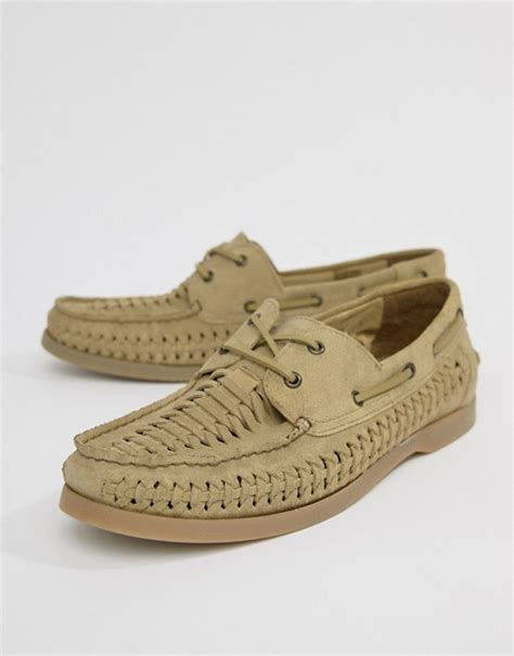 boat shoes asos asos asos design boat shoes in stone suede with woven detail