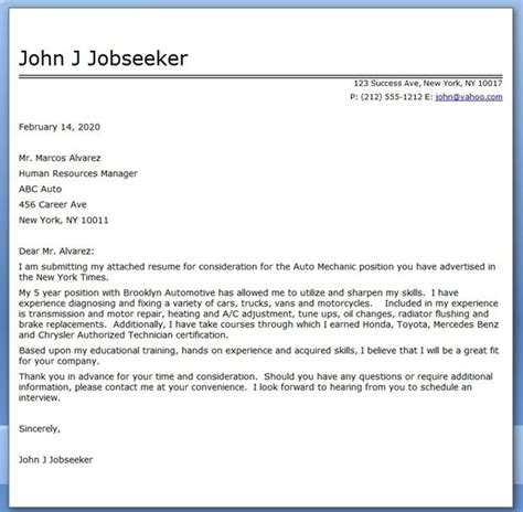 A C Mechanic Cover Letter auto mechanic cover letter template career