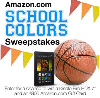 Amazon Com Sweepstakes - amazon school colors sweepstakes enter to win kindle fire hdx 800 amazon gift card