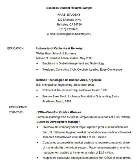 Business Resume Sle Undergraduate 28 Business Student Resume Business Admin Resume Free Excel Templates Sle Business Resumes