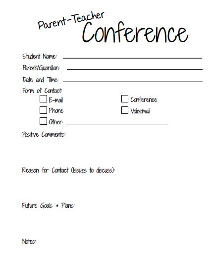 grade level meeting template awesome parent teacher conference form