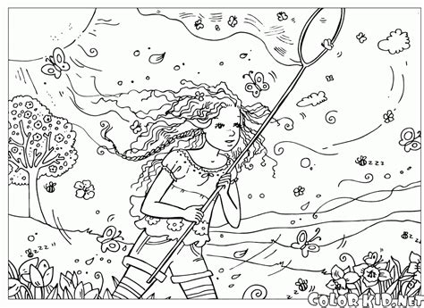 butterfly meadow coloring pages ぬりえ 夏の牧草地で