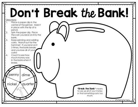 bank grade money activities for second grade money activities