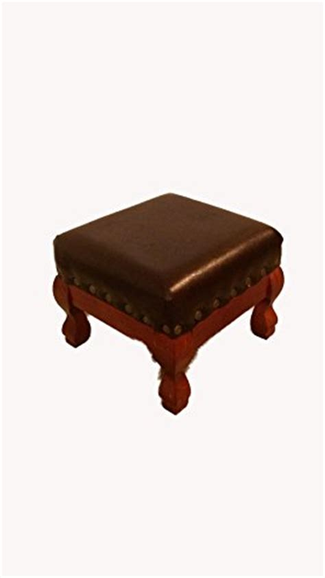 Brown Faux Leather Stool by Brown Faux Leather Wood Footstool Foot Stool Rest Hassock