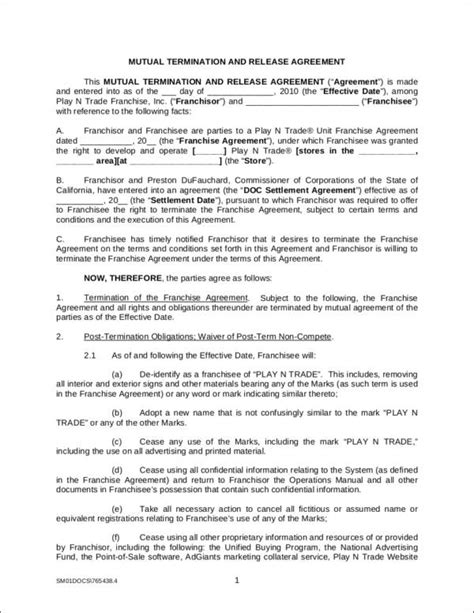 Termination And Release Agreement Template 10 Termination Contract Sles Templates Sle Templates
