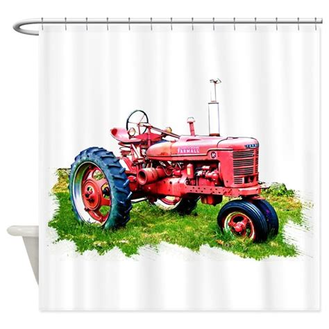 international harvester home decor red tractor in the grass shower curtain by admin cp51336015