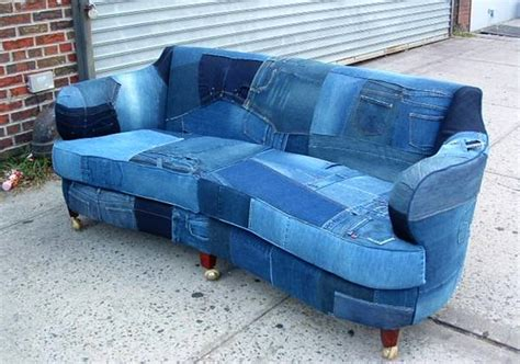 denim couch upcycled denim sofa creates buzz on craigslist homecrux