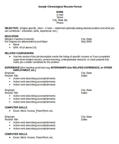 chronological resume sles pdf chronological resume template 28 free word pdf documents free premium templates