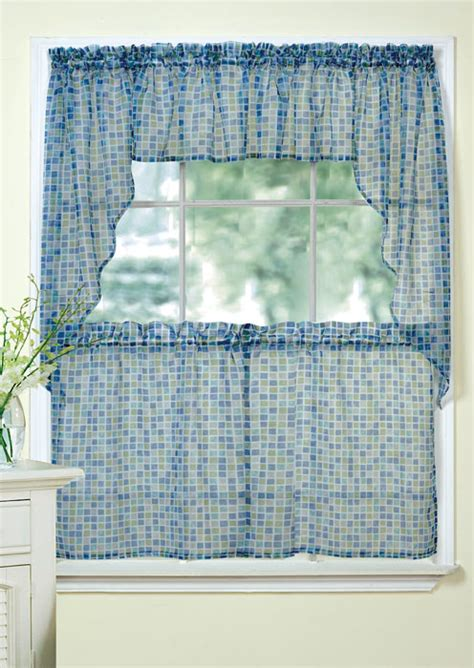 blue and green kitchen curtains tiles sheer curtains discount tiers swag valance in blue green lorraine home fashions