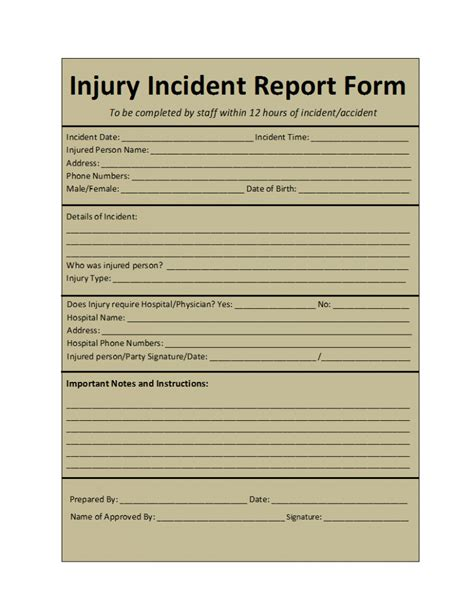 report template incident report template