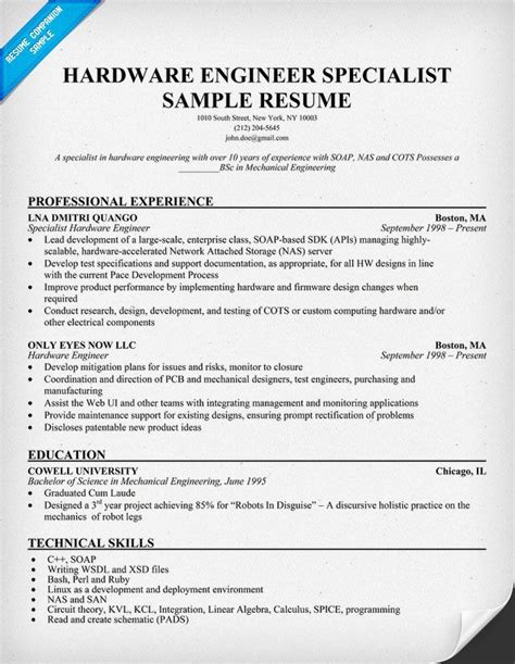 hardware engineer specialist resume resumecompanion com