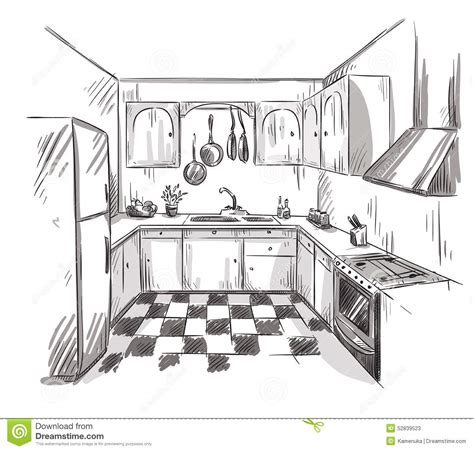 interior drawing kitchen interior drawing vector illustration stock vector image 52839523