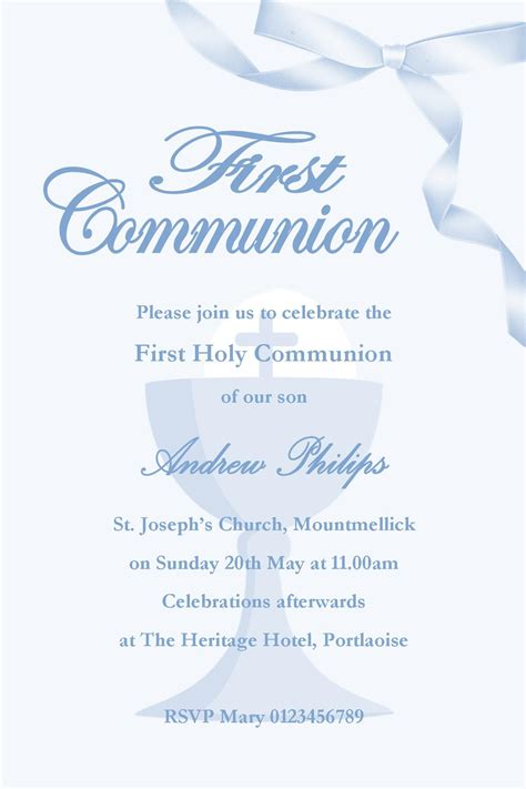 communion invitations templates personalised communion invitations boy new design 1