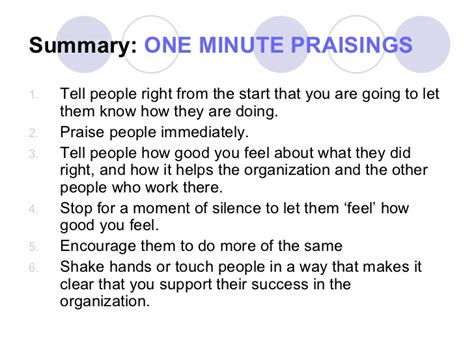 One Minute Manager notes to myself one minute manager slide show