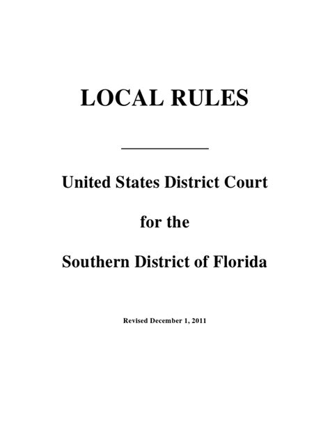 southern district of florida local rules december 1 2011