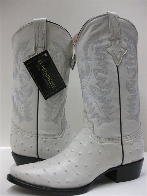 mens white boots leather s bone white leather ostrich cowboy boots western