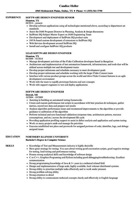 software design engineer resume sles velvet