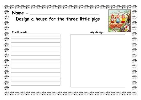 design technology cover worksheets design a house for the 3 little pigs by ruthbentham