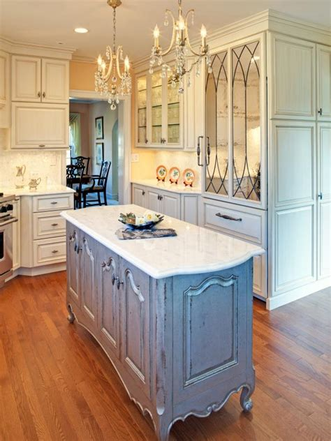 french country white kitchen  blue gray distressed