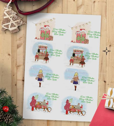 children s personalised christmas gift sticker labels by