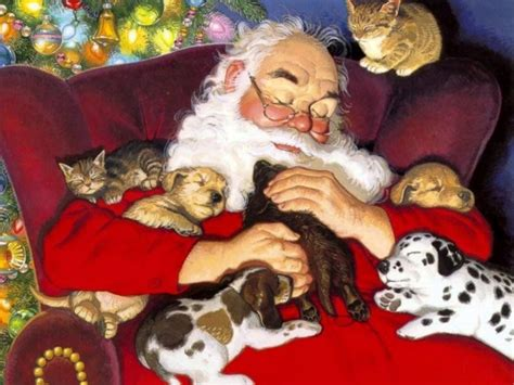 santa puppies images santa with puppies and kittens hd wallpaper and background photos