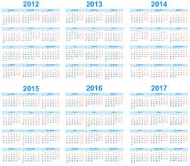 5 Year Calendar 2013 To 2018 Set Of 2013 2018 Calendars Template Vector Graphic 02