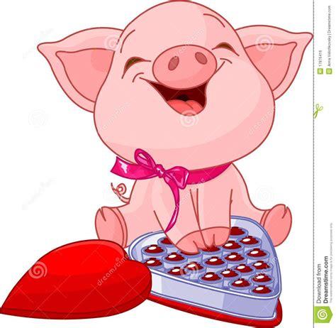 valentines pig pretty pig at valentines day vector illustration
