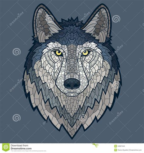 wolf head mascot mosaic isolated stock illustration