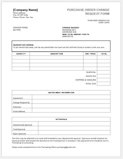change request form template purchase order change request forms word excel templates