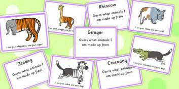 Book Fright Time Creatures Who Am I Etc mixed up animals what am i guessing cards sen guess