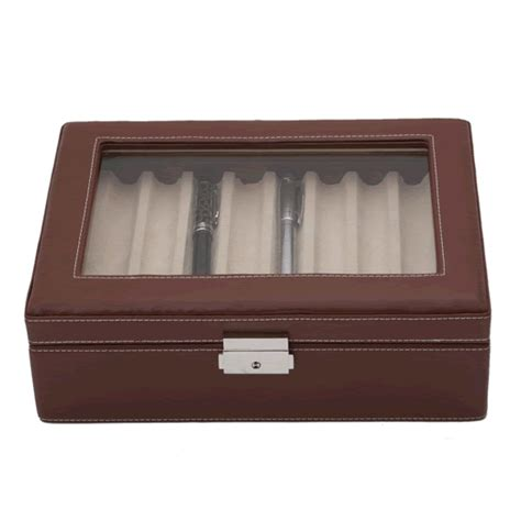Decorative Display Cases by Brown Leather Sixteen Pen Display With Decorative