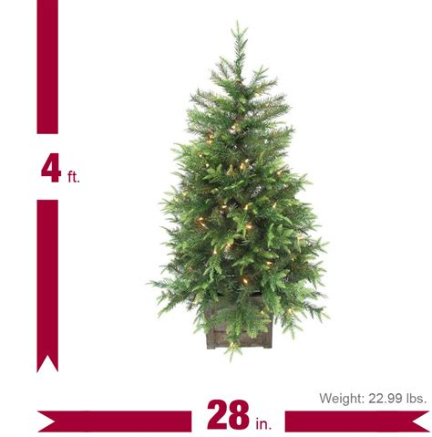 home depot small christmas trees home accents 4 ft pre lit grand fir potted artificial tree with 100 clear