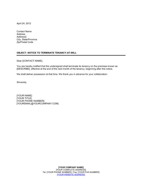 End Of Lease Agreement Letter To Tenant Notice To Terminate Tenancy At Will By Tenant Template Sle Form Biztree