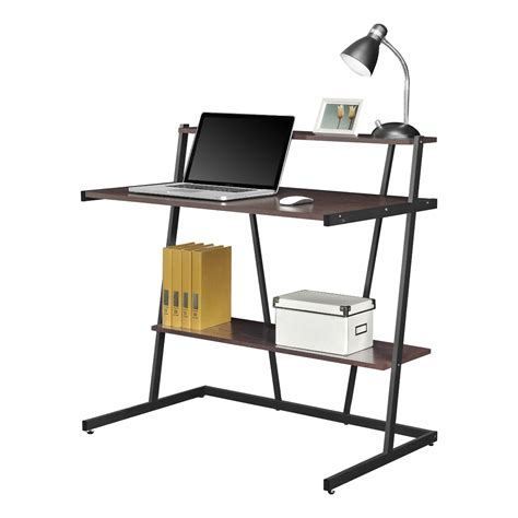 altra cherry and black small computer desk with shelf 9391096