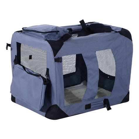 soft sided crate pawhut 32 inch soft sided folding crate pet carrier gray