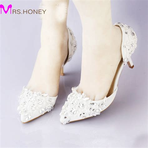 cheap pointed toe wedding shoe comfortable middle heel