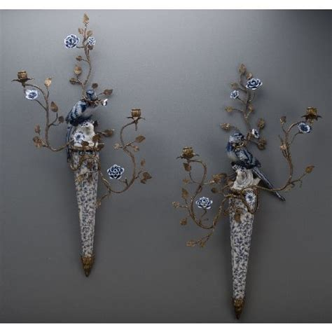 blue and white porcelain ls blue and white porcelain and bronze ormolu bird sconces