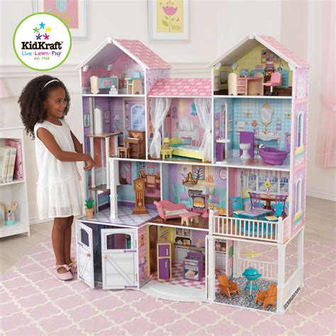 dollhouse at walmart kidkraft majestic mansion wooden dollhouse with 33 pieces