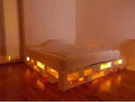 diy pallet bed with lights pallets designs